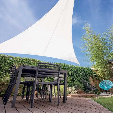 Voile d'ombrage triangulaire 3,60m extensible blanc