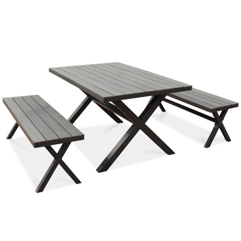 Table et 2 bancs pliants design aluminium composite