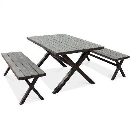 Table de terrasse et 2 bancs aluminium et polywood