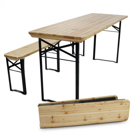 Table de brasserie pliante en bois + bancs 180cm 8 places