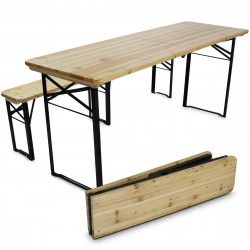 Table de brasserie en bois + bancs pliants 218cm 10 places