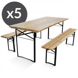 Lot de 5 table+banc bois 180x80x76cm