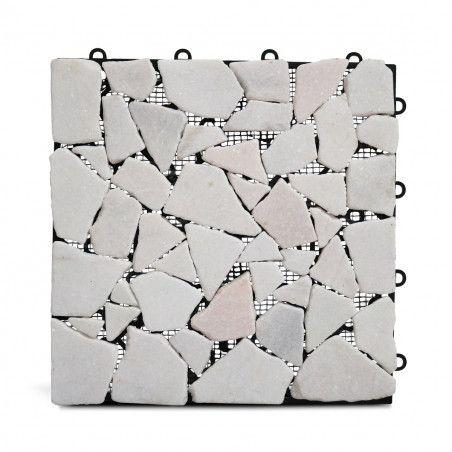 Dalle de terrasse en galets de marbre blanc