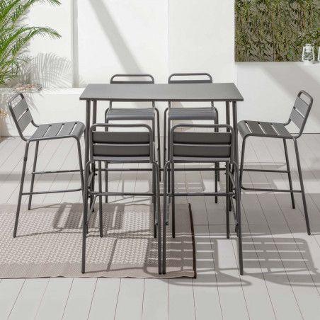 Table haute de bar et 6 tabourets en acier gris