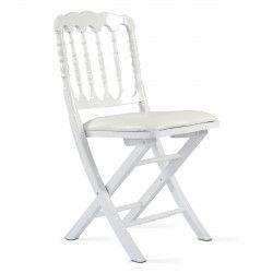 Chaise pliante blanche en bois
