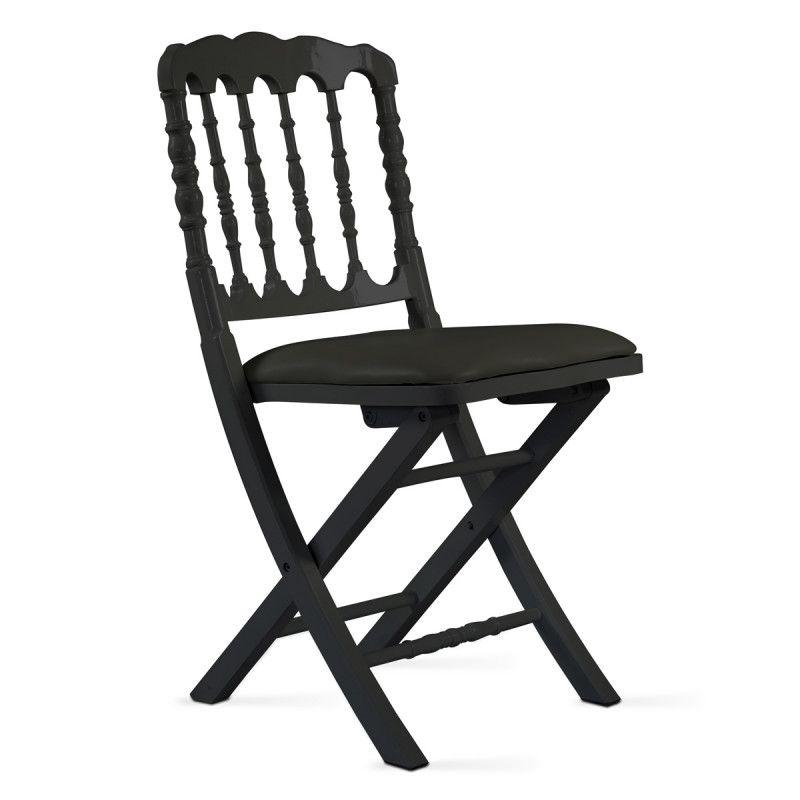 Chaise pliante noire en bois