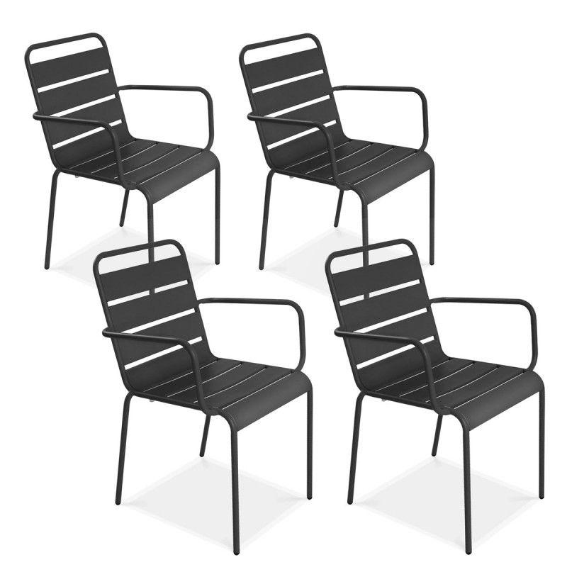 fauteuils de terrasse en métal gris Lot de 4