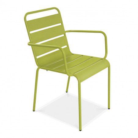 Lot de 4 fauteuils de terrasse en métal vert