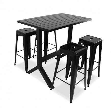 Table de terrasse haute et 4 tabourets en métal noir