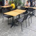 Table de terrasse carrée en bois et 2 chaises en métal gris