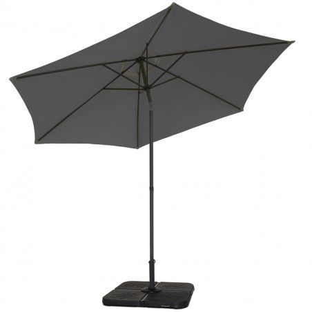 Parasol droit inclinable 3 m gris