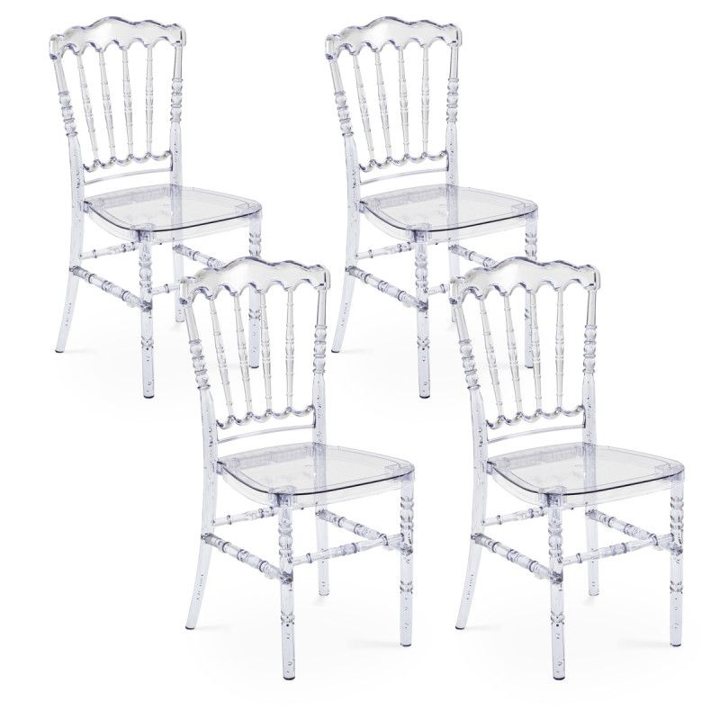 Chaises transparentes Napoleon - Lot de 4