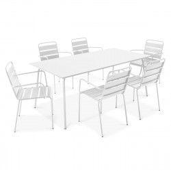 Table terrasse et 6 fauteuils en métal