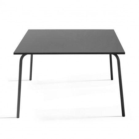 Table de terrasse carrée en métal gris 8 places PALAVAS