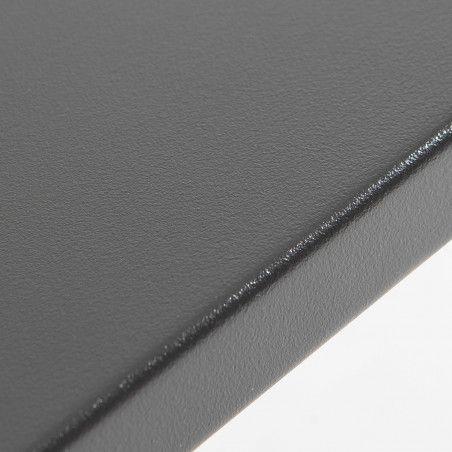Zoom plateau Table de terrasse carrée en métal gris 8 places