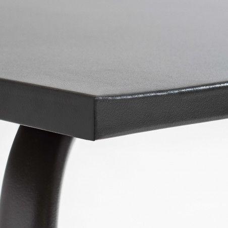 Zoom Table de terrasse carrée en métal gris 8 places