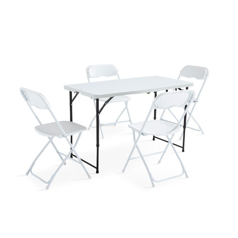 Ensemble table et chaises pliantes 122cm 4 places PEHD