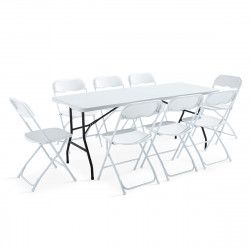 Ensemble table et chaises pliantes 180cm 8 places PEHD