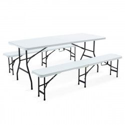 Table et 2 bancs pliants PEHD 180cm 8 places