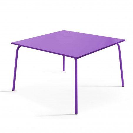 Table de terrasse carrée en métal violet 8 places