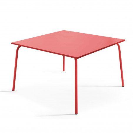 Table de terrasse carrée en métal rouge 8 places