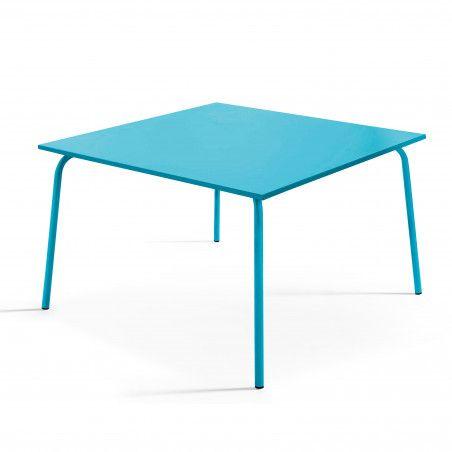 Table de terrasse carrée en métal bleu 8 places