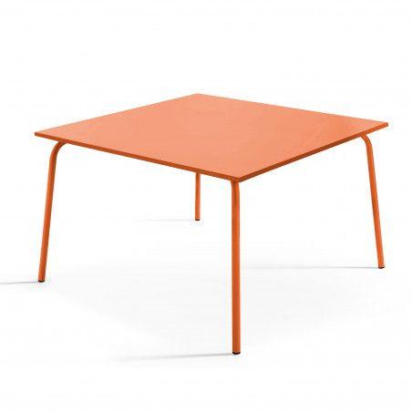 Table de terrasse carrée en métal orange 8 places