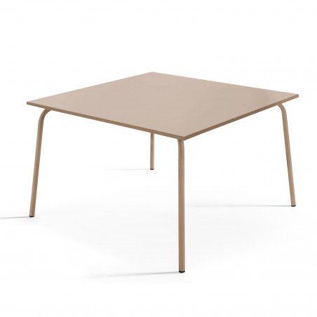 Table de terrasse carrée en métal Taupe 8 places