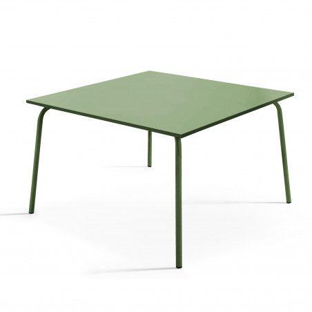Table de terrasse carrée en métal vert cactus 8 places