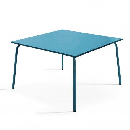 Table de terrasse carrée en métal bleu pacific 8 places
