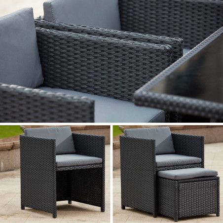 Table et fauteuils de jardin coussins gris en résine