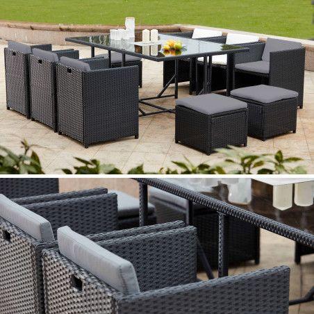 Table et fauteuils de jardin gris en résine encastrable