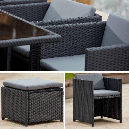 Table et fauteuils de jardin en résine encastrable coussins gris