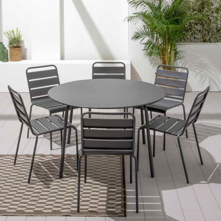 Table grise ronde en acier 6 personnes