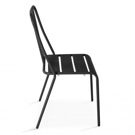 Chaise bistrot gris en métal DIEPPE | Mobeventpro