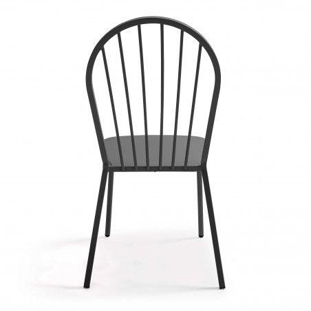 Chaise en métal rétro grise