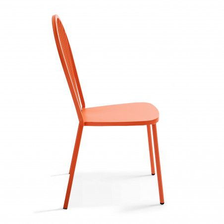 Chaise métal orange dossier arrondi