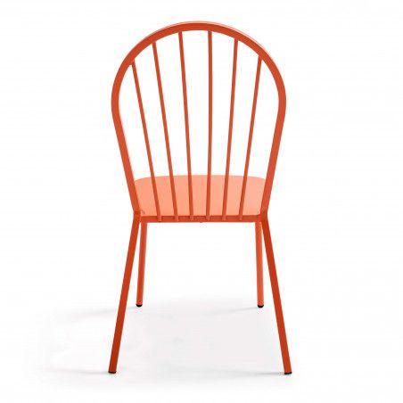 Chaise en métal rétro orange