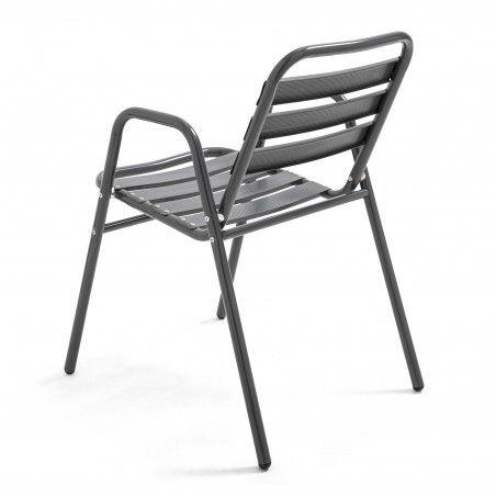 Chaise terrasse chr en alu gris