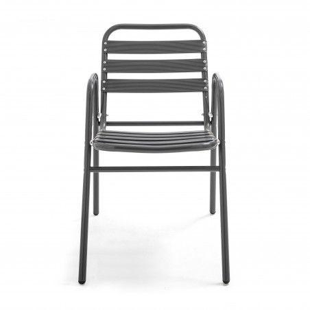 Chaise terrasse café alu gris anthracite