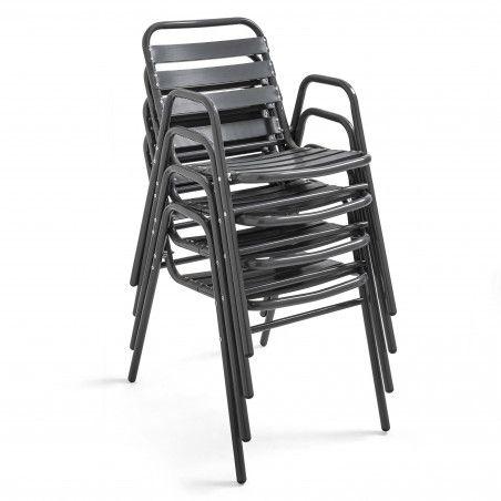 Chaise terrasse chr en alu gris anthracite