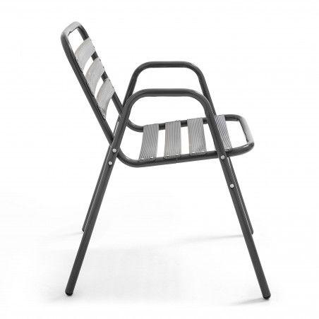 Chaise terrasse restaurant alu gris anthracite