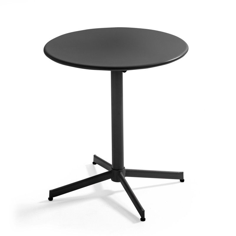 Table de terrasse ronde en acier gris avec plateau rabattable ⌀70cm
