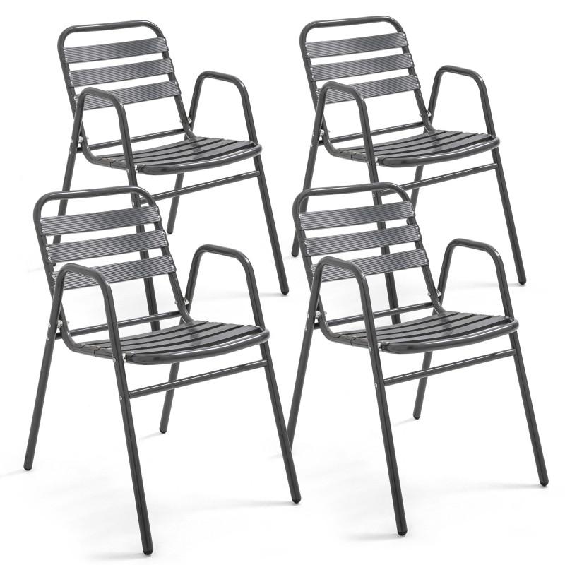 Lot de 4 Chaises aluminium gris anthracite Fauteuils terrasse empilables