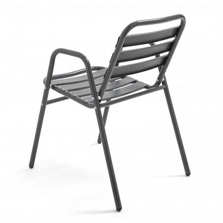 Chaise de terrasse empilable café bistro en alu gris anthracite