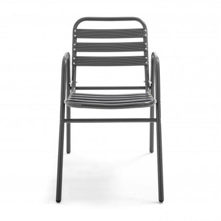 Chaise de terrasse empilable café bistro en aluminium gris anthracite