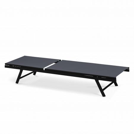 Transat gris en acier et textilène multi positions