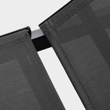 Zoom toile textilène Transat gris en acier