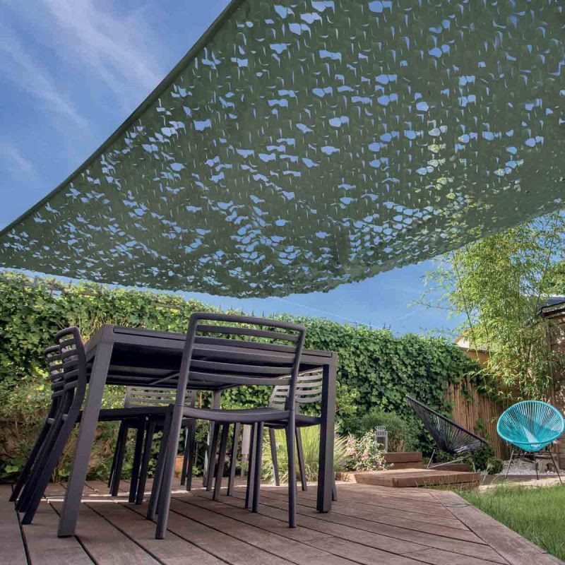 Voile d'ombrage rectangulaire 3x4m camouflage vert