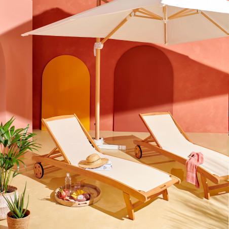 Lot de 2 bains de soleil bois et textilène écru